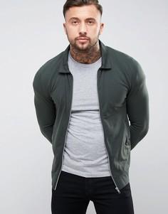 Трикотажная облегающая куртка Харрингтон ASOS - Зеленый