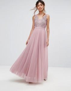 Платье макси с V-образным вырезом и цветочной аппликацией Little Mistress - Розовый