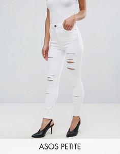 Зауженные рваные джинсы с завышенной талией ASOS PETITE RIDLEY - Белый