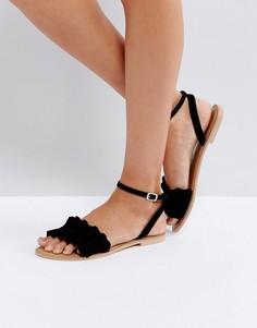 Замшевые сандалии с оборками Faith - Черный