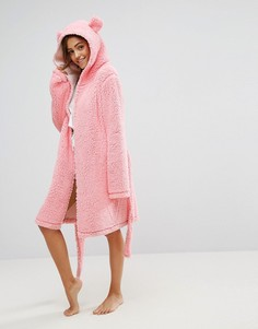Пушистый халат с ушками ASOS - Розовый
