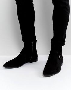 Черные замшевые ботинки челси с пряжками ASOS - Черный