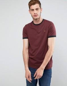 Красная футболка узкого кроя с контрастной отделкой Farah Groves - Красный