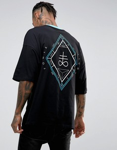 Свободная футболка с принтом Mystic на спине ASOS - Черный