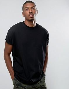 Черная оверсайз-футболка удлиненного кроя с отворотами на рукавах ASOS - Черный