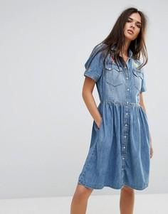 Джинсовое платье с расклешенной юбкой и вышивкой Diesel - Синий