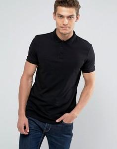 Черная трикотажная футболка-поло ASOS - Черный