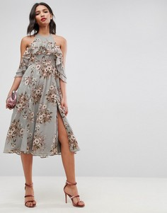 Платье миди с открытыми плечами, оборками и цветочным принтом ASOS - Мульти