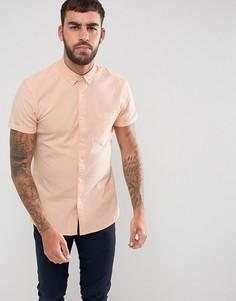 Оранжевая узкая эластичная оксфордская рубашка в стиле casual от ASOS - Оранжевый