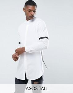 Супердлинная рубашка классического кроя с отделкой лентой ASOS TALL - Белый