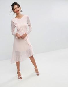 Чайное платье миди с оборками ASOS - Розовый