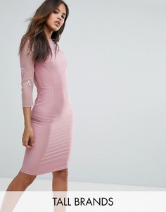 Платье-футляр с сетчатыми вставками Little Mistress Tall - Розовый