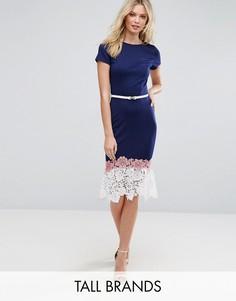 Платье с кружевной отделкой и поясом Paper Dolls Tall - Темно-синий