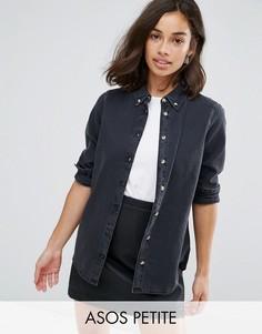 Черная выбеленная джинсовая рубашка ASOS PETITE - Черный