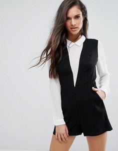 Ромпер с глубоким V-образным вырезом и блузкой BCBG - Черный