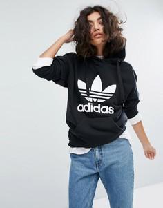 Худи черного цвета с логотипом-трилистником adidas - Черный