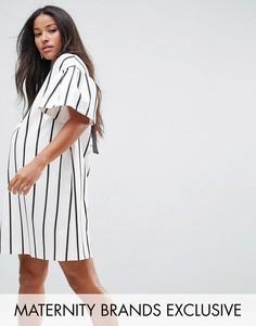 Платье в полоску с короткими рукавами ASOS Maternity - Белый