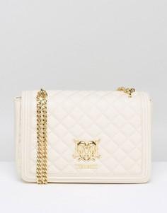 Стеганая сумка на плечо с цепочкой Love Moschino - Кремовый
