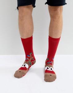 Новогодние носки с оленями Urban Eccentric - Красный