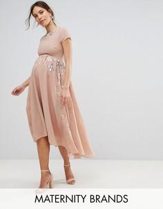 Декорированная юбка миди с асимметричным краем Maya Maternity - Фиолетовый