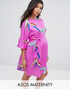 Платье с поясом и абстрактным цветочным принтом ASOS Maternity - Мульти