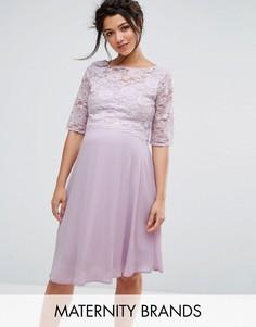 Свободное платье миди с кружевной отделкой Queen Bee - Фиолетовый