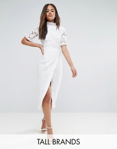 Платье миди с кружевом и запахом True Decadence Tall - Белый