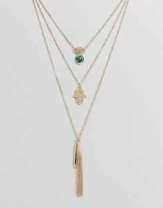 Многослойное ожерелье с подвеской хамса Ashiana - Золотой