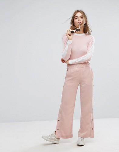 Свободные брюки с кнопками Monki - Розовый