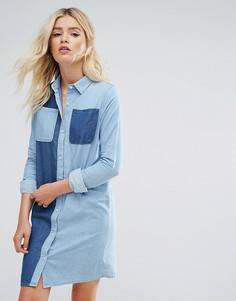 Двухцветное джинсовое платье-рубашка Daisy Street - Синий