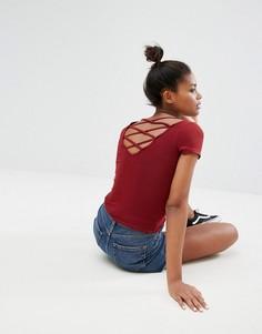 Топ с решетчатой отделкой на спине Dr Denim - Красный Monki