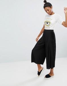 Плиссированные широкие брюки Monki - Черный