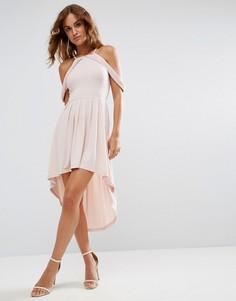 Короткое приталенное платье миди с открытыми плечами ASOS - Розовый