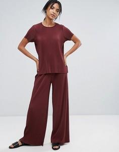 Широкие плиссированные брюки Just Female - Красный