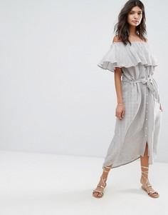 Платье макси в полоску со спущенными плечами Faithful - Серый