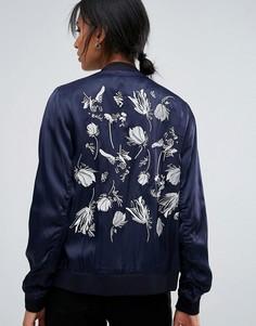Бомбер с вышивкой на спине Just Female Panther - Темно-синий