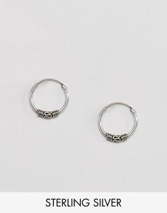 Миниатюрные серьги-кольца Reclaimed Vintage Inspired - Серебряный