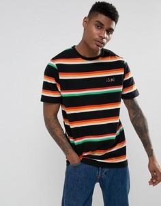 Свободная футболка в полоску с вышивкой Lucky ASOS - Черный