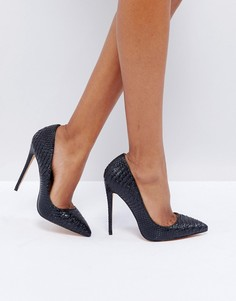Черные туфли-лодочки с крокодиловым узором Lost Ink - Черный