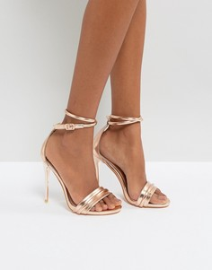 Босоножки на каблуке цвета розового золота Lost Ink - Золотой