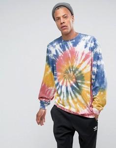 Свободная футболка с рукавами летучая мышь и разноцветным принтом тай-дай ASOS - Мульти