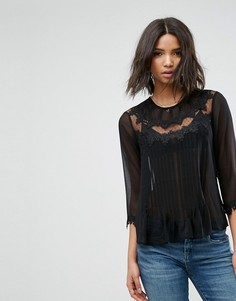 Блузка с вышивкой и кружевом ASOS - Черный