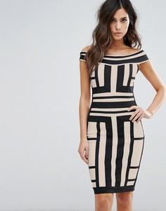 Платье с открытыми плечами и контрастными вставками WOW Couture - Мульти