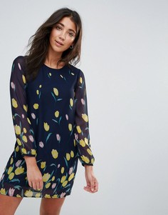 Платье-рубашка с длинными рукавами и принтом тюльпанов Yumi - Черный