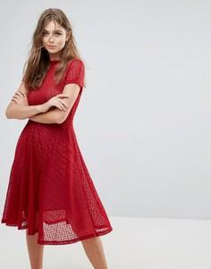 Расклешенное кружевное платье миди Goldie - Красный