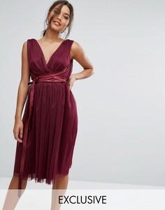 Платье миди из тюля с атласной лентой True Violet - Фиолетовый