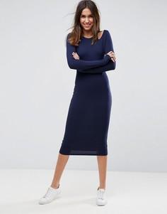 Облегающее платье миди с вырезами на плечах ASOS - Темно-синий