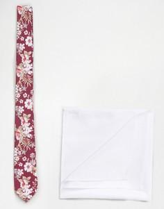 Розовый галстук с цветочным принтом в комплекте с белым платком-паше ASOS - Розовый