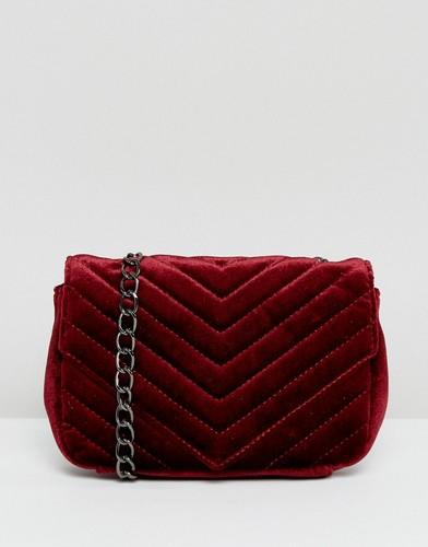 Бархатная сумка через плечо с ремешком-цепочкой Glamorous - Красный