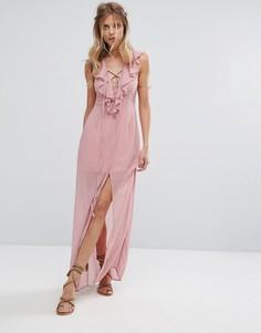 Платье макси с оборками Glamorous - Розовый